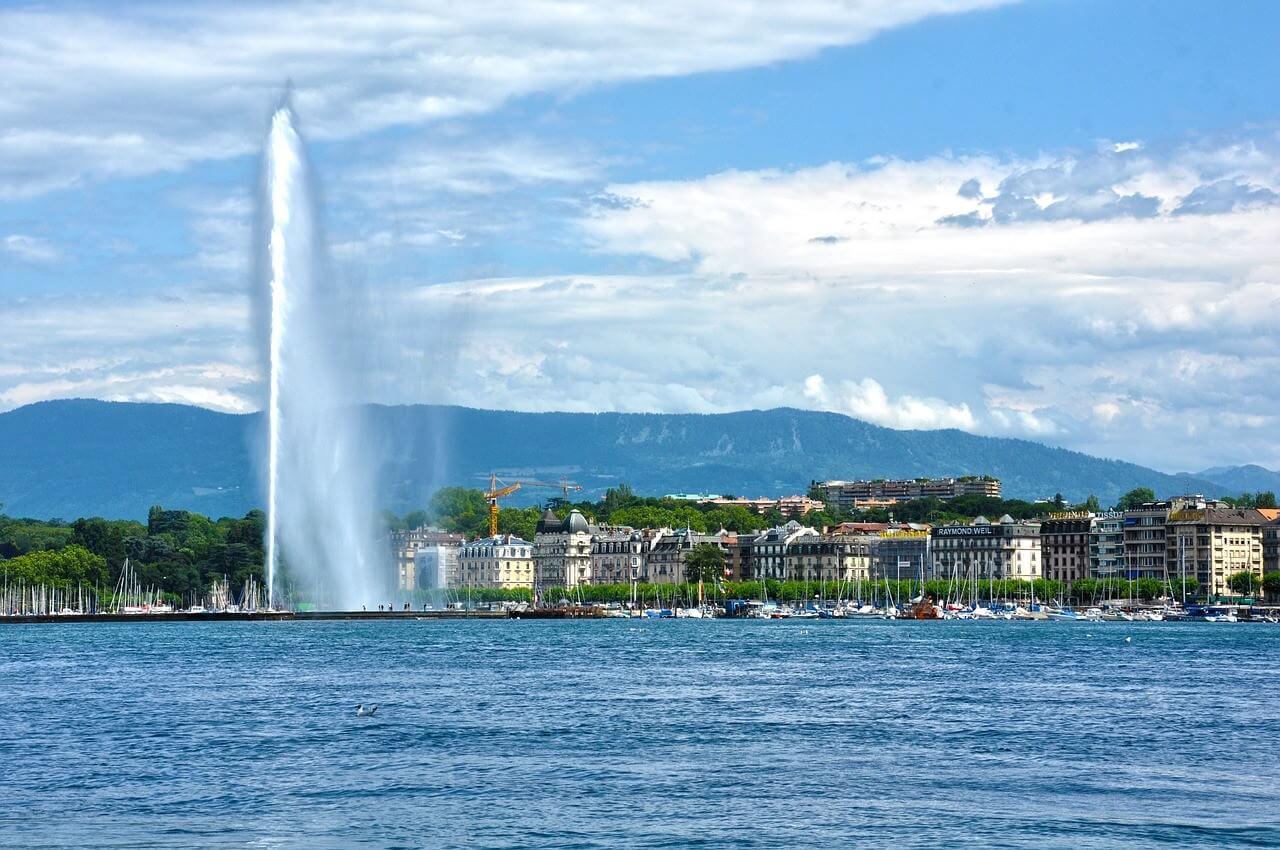 Genève geyser lac Leman