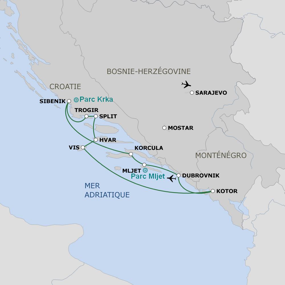 itinéraire croisière Le belle de l'Adriatique