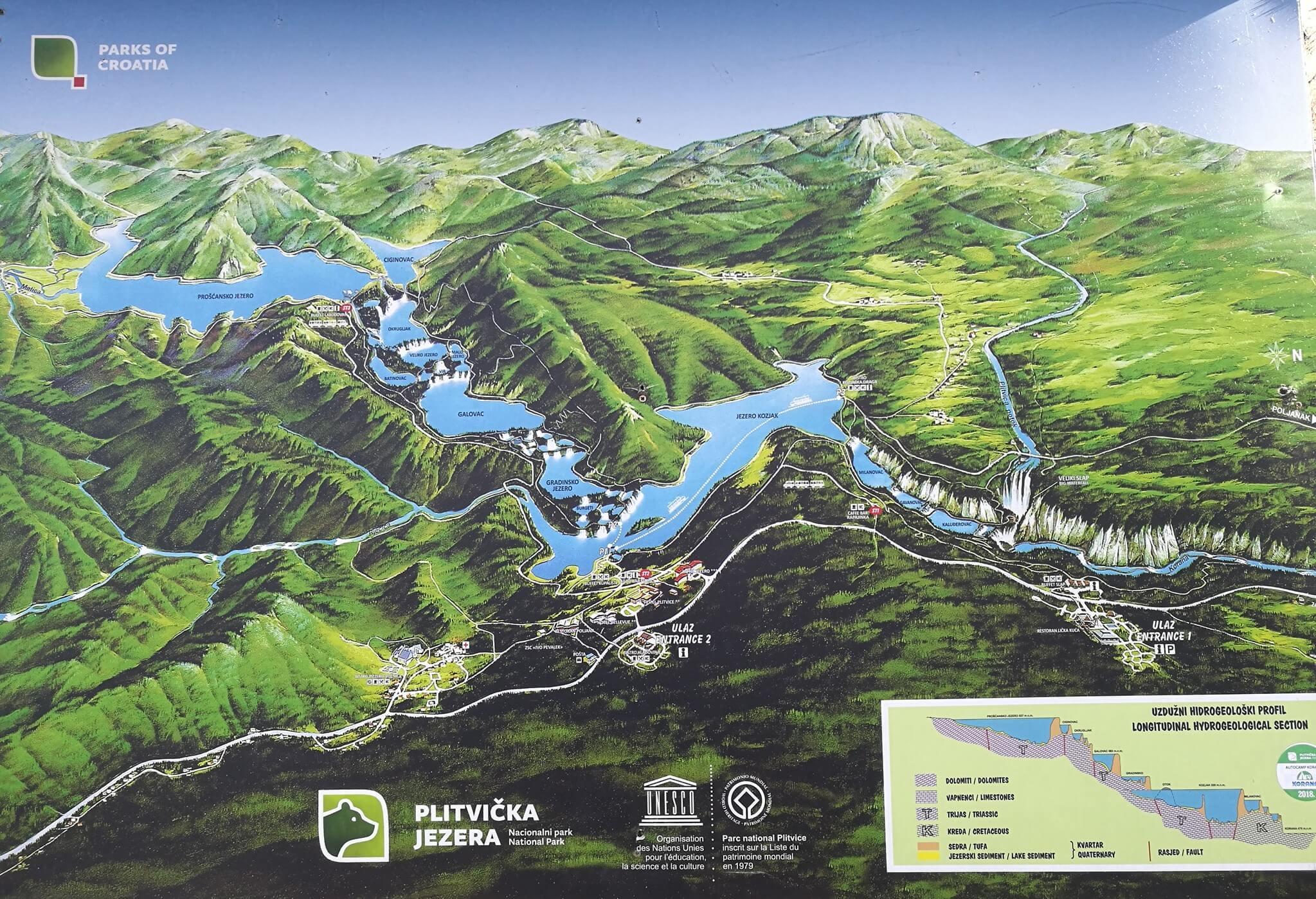plan du parc de Plitvice