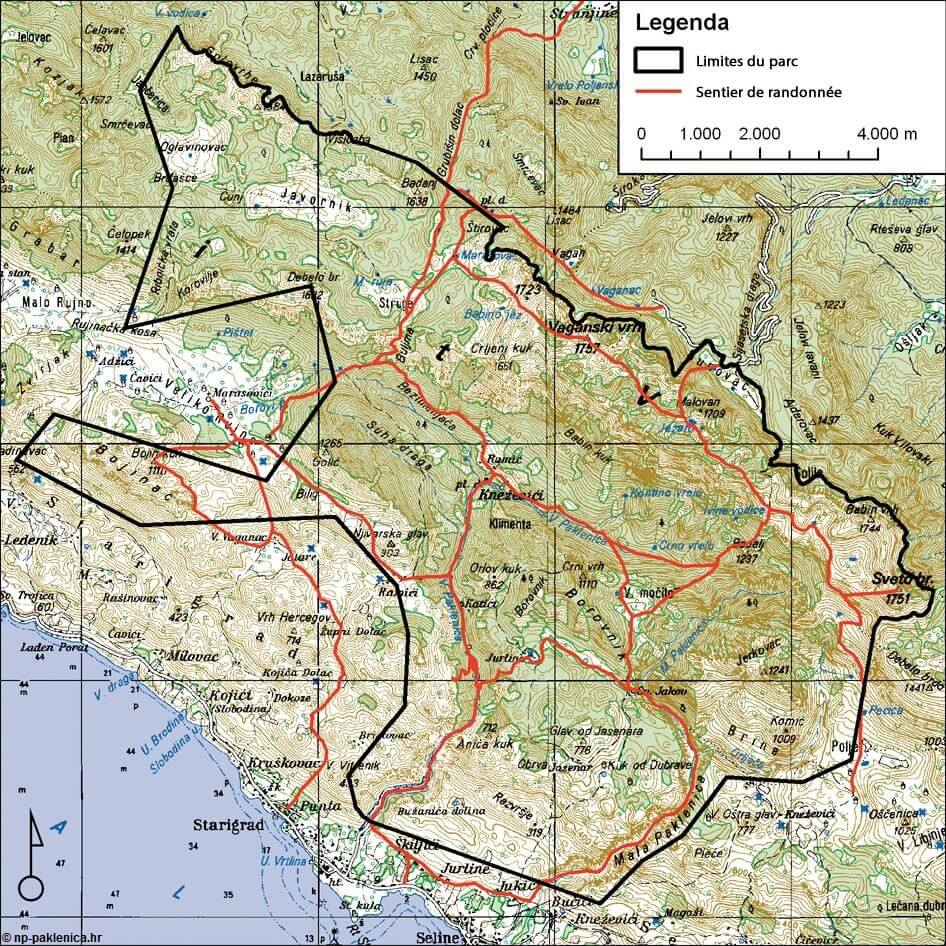 Carte parc national Paklenica