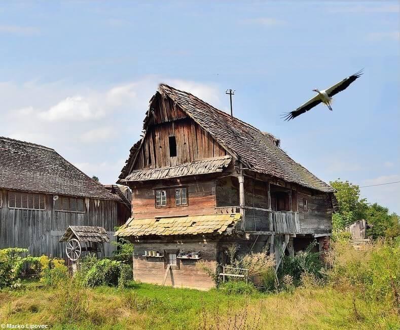 Maison typique du parc Lonjsko Polje