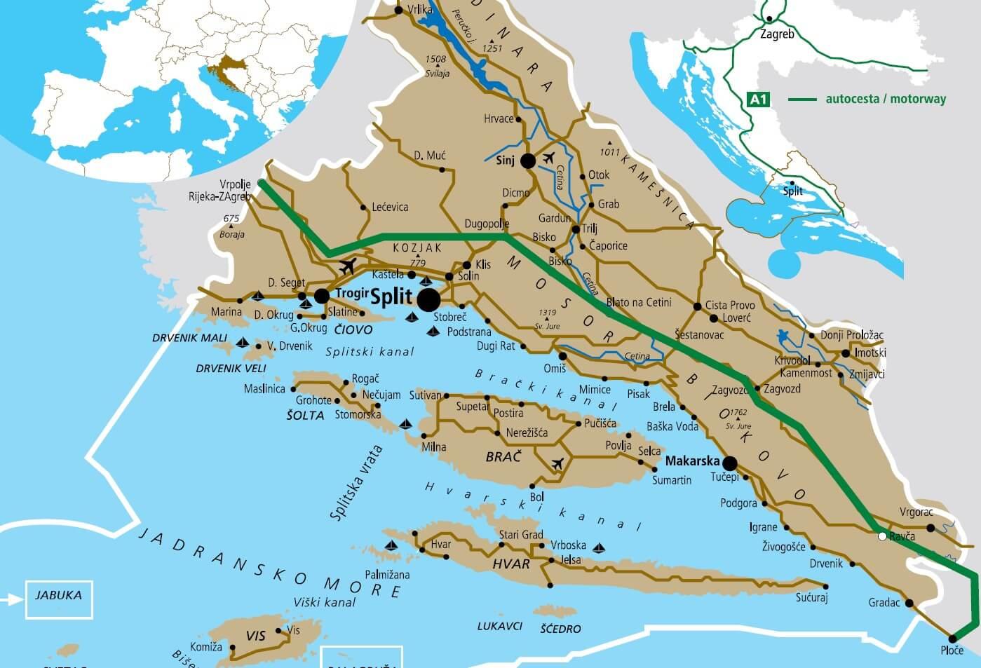Carte Croatie Dalmatie Centrale.Dalmatie Centrale La Region De Split Hvar Et Makarska