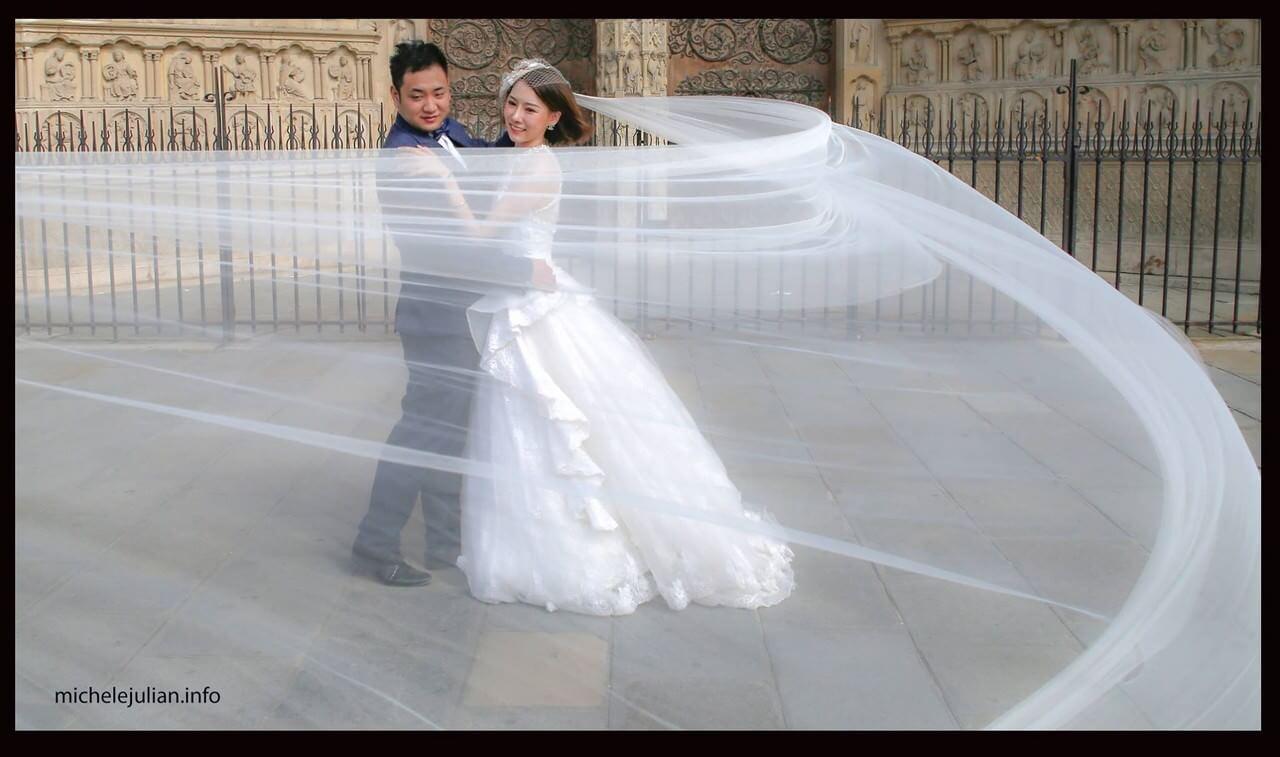 Voile s'envolant sur les mariés chinois devant Notre dame de Paris