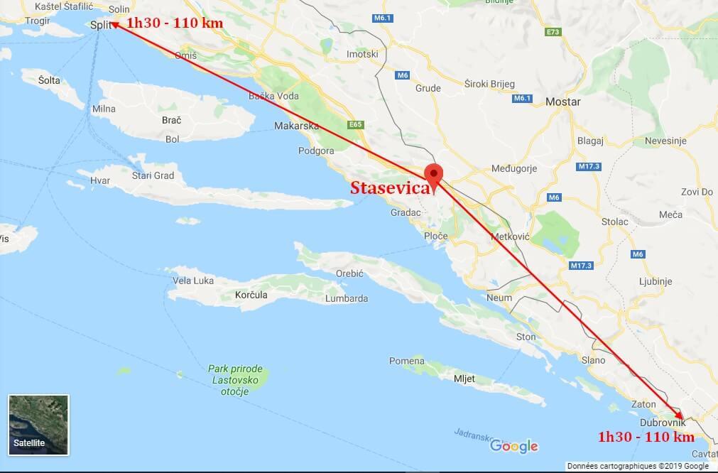 carte de dalmatie localisation de Stasevica