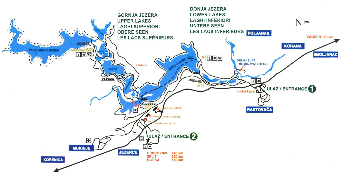 carte des lacs de Plitvice parc national