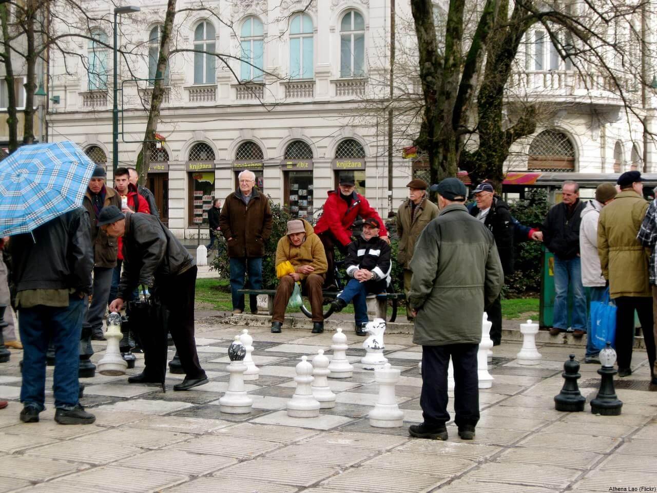 joueurs d'échecs à Sarajevo