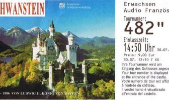 Ticket d'entrée Neuschwanstein