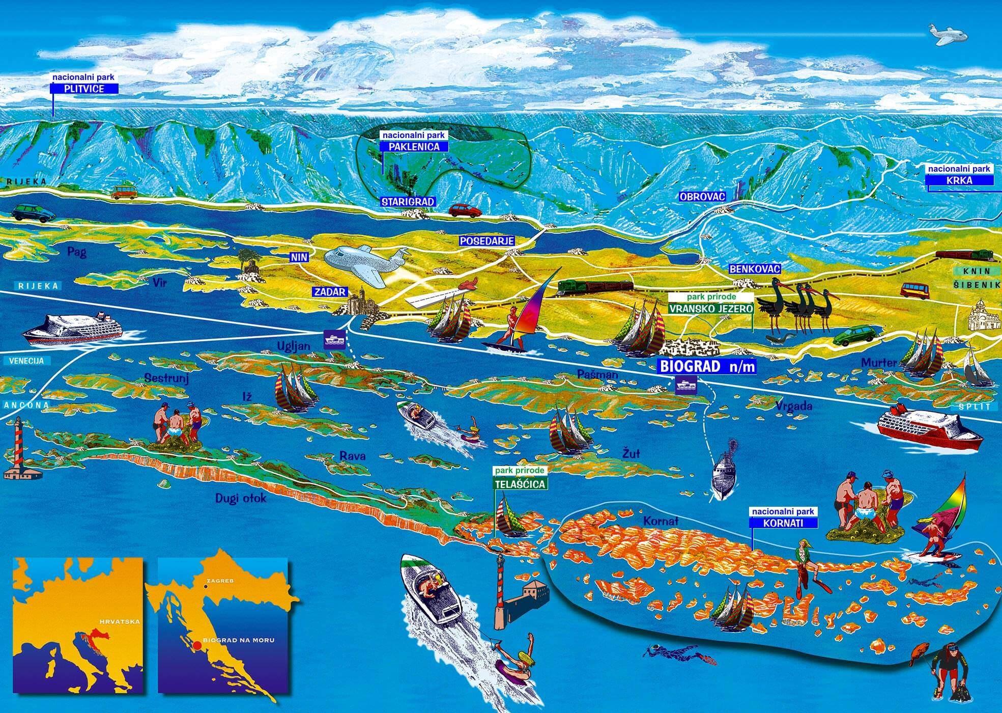 carte touristique de Dalmatie du nord
