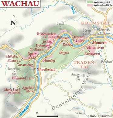 carte de la vallée de la wachau en autriche