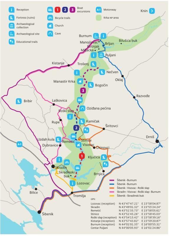 carte parc national KRKA Forteresses et attractions de la rivière Krka