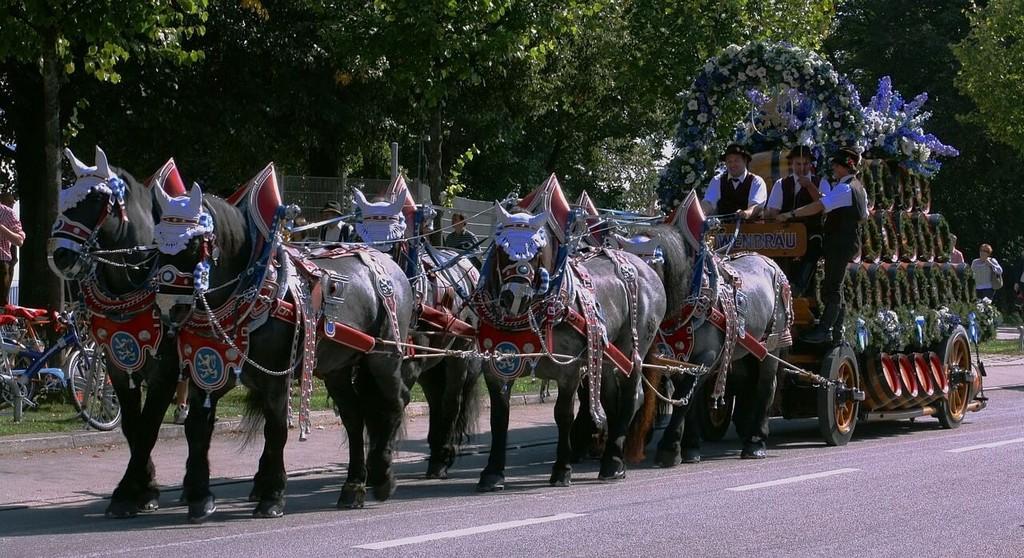 défilé des calèches de la fête de la bière de Munich