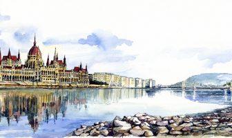 panorama de budapest en aquarelle