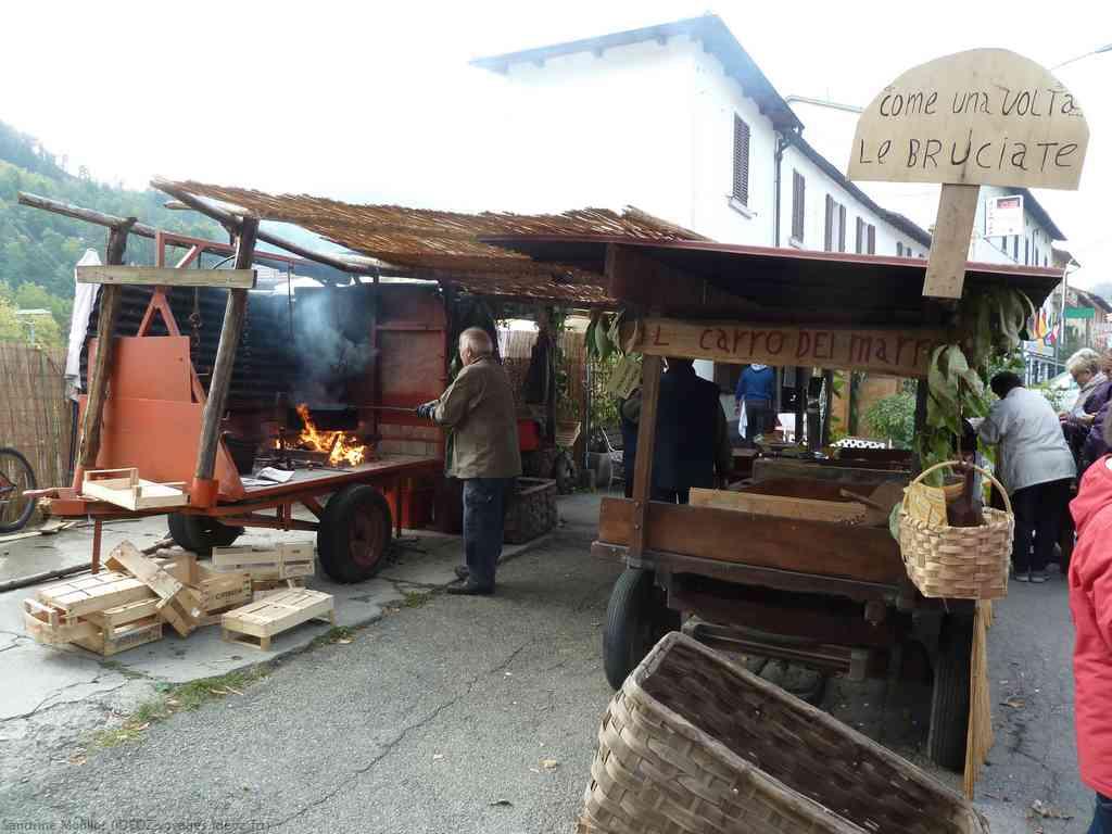 Bruciate marrons du mugello sur les flammes lors de la fete de la chataigne de Marradi