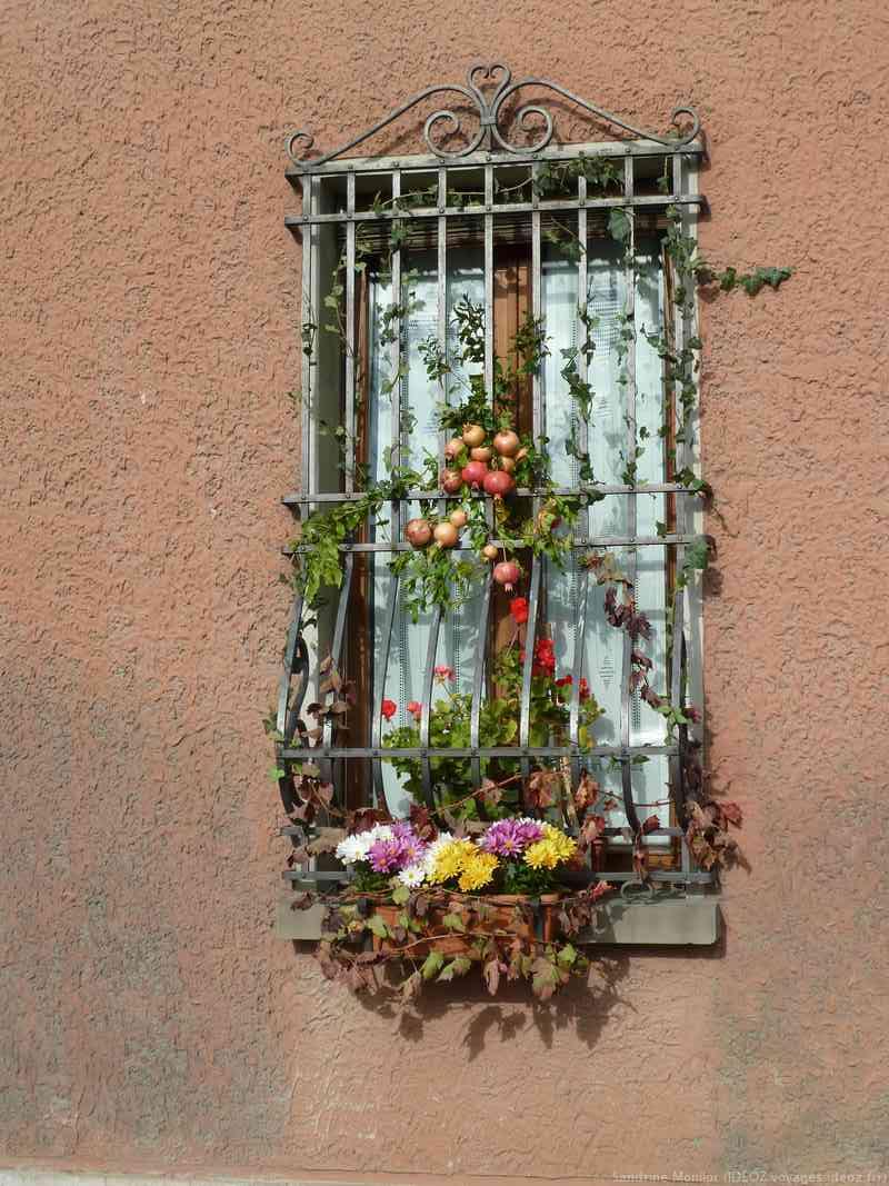Fenetre à la décoration automnale à Marradi