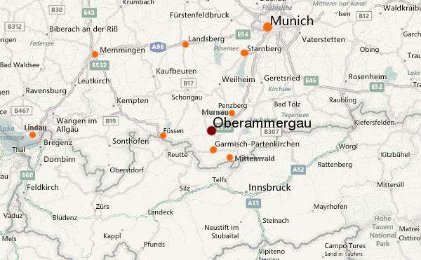 carte marchés de noel en Haute Bavière autour d'Oberammergau