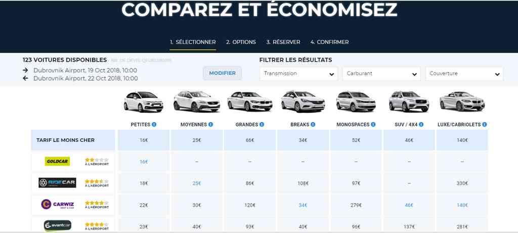 comparateur de prix location de voiture