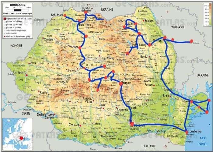 Carte de la roumanie itinéraire