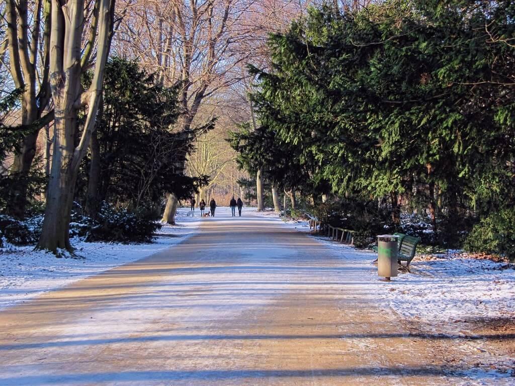 Parc Tiergarten sous la neige en hiver à Berlin