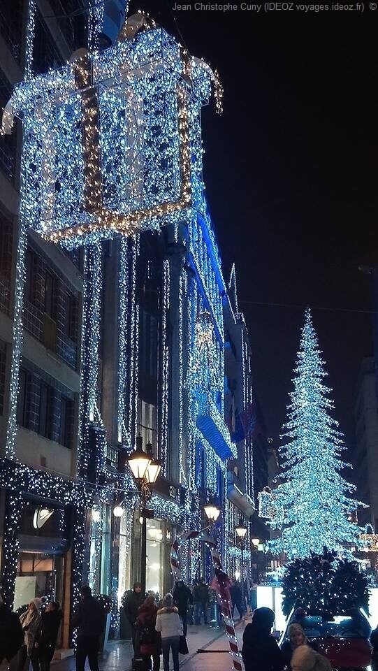 Sapin bleu et illuminations de Noël dans une rue de Budapest