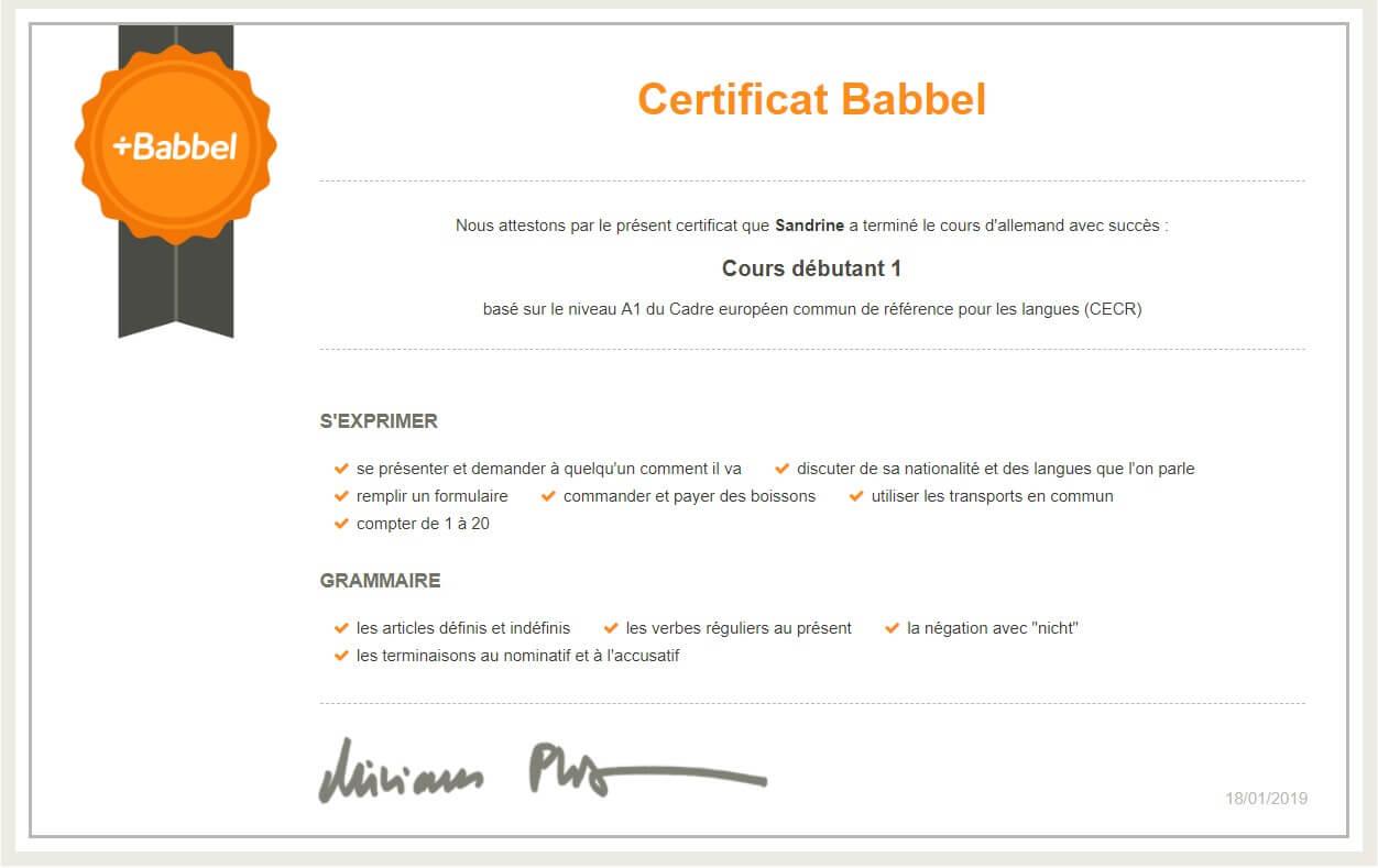 certificat Babbel allemand