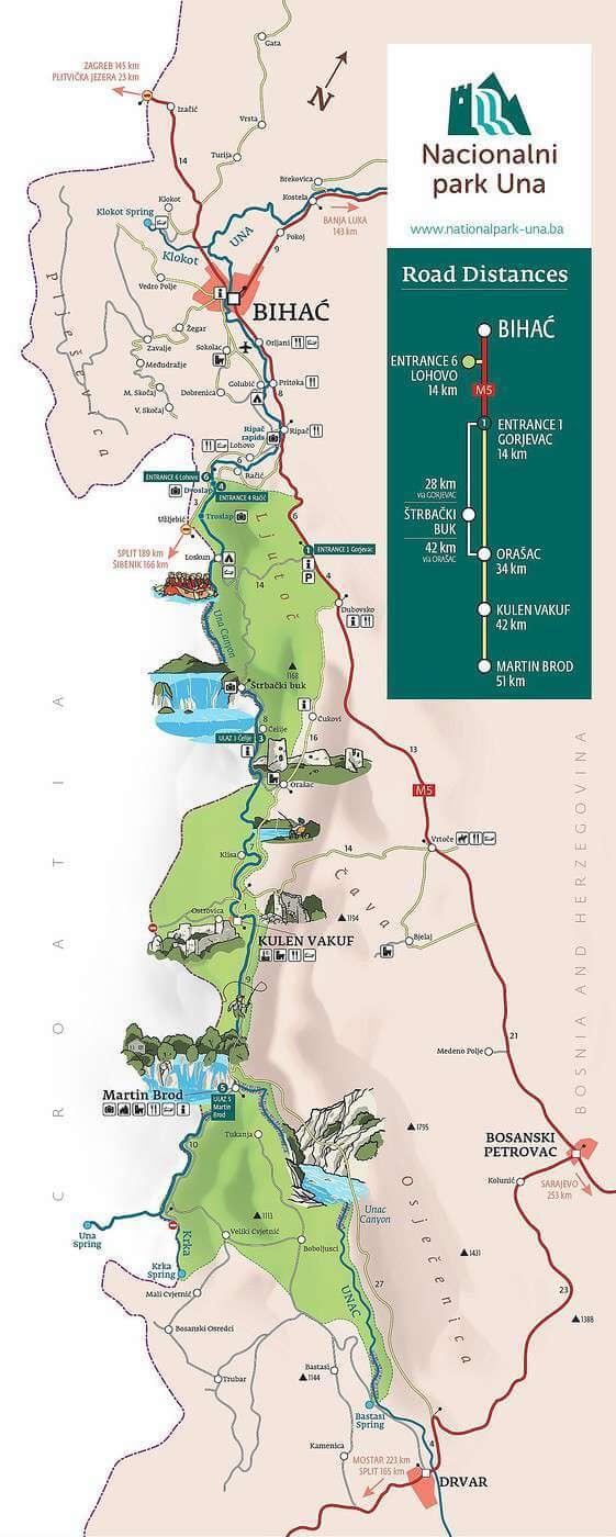 plan du parc d'una en bosnie et des attractions à voir (1)