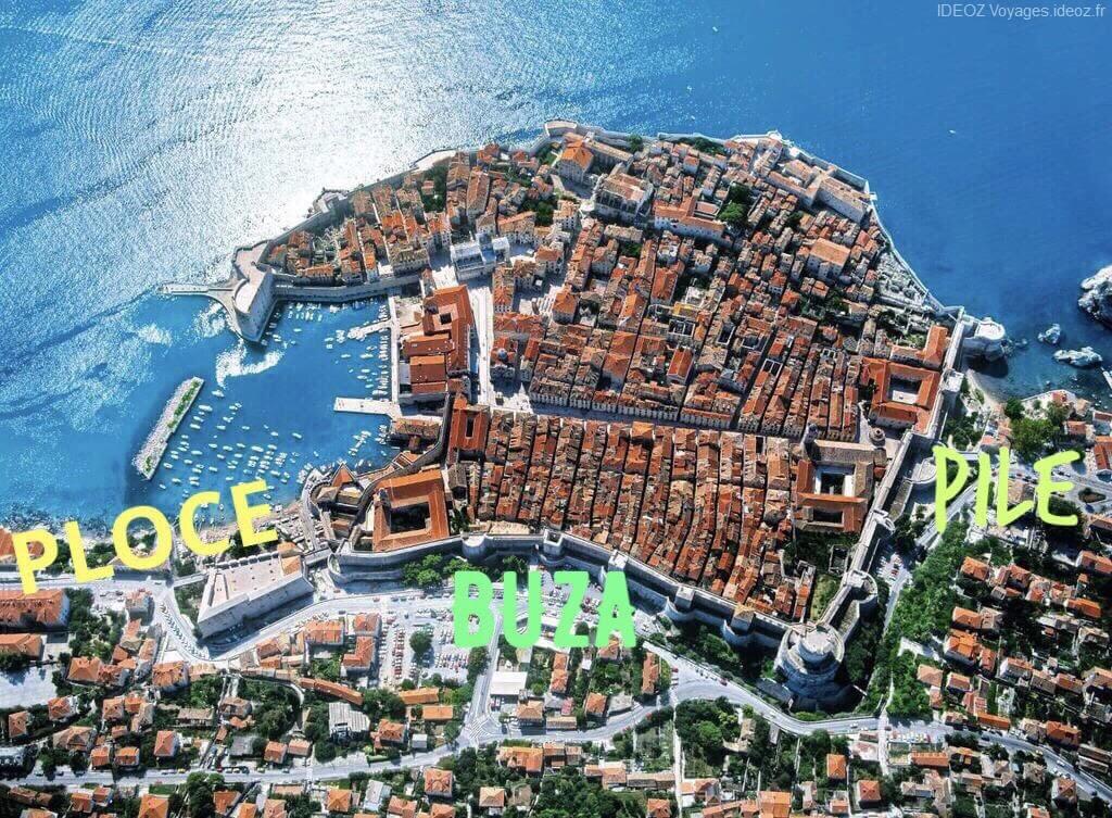 Entrées dans la vieille ville de Dubrovnik