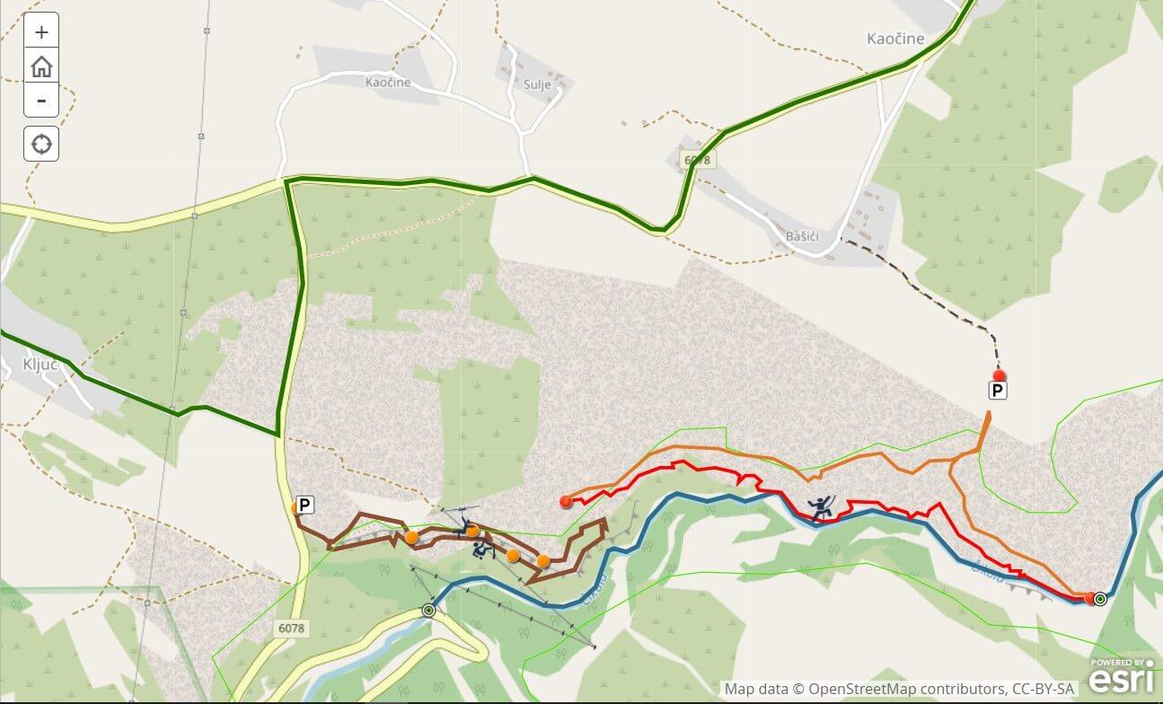 canyon de cikola carte escalade et randonnées