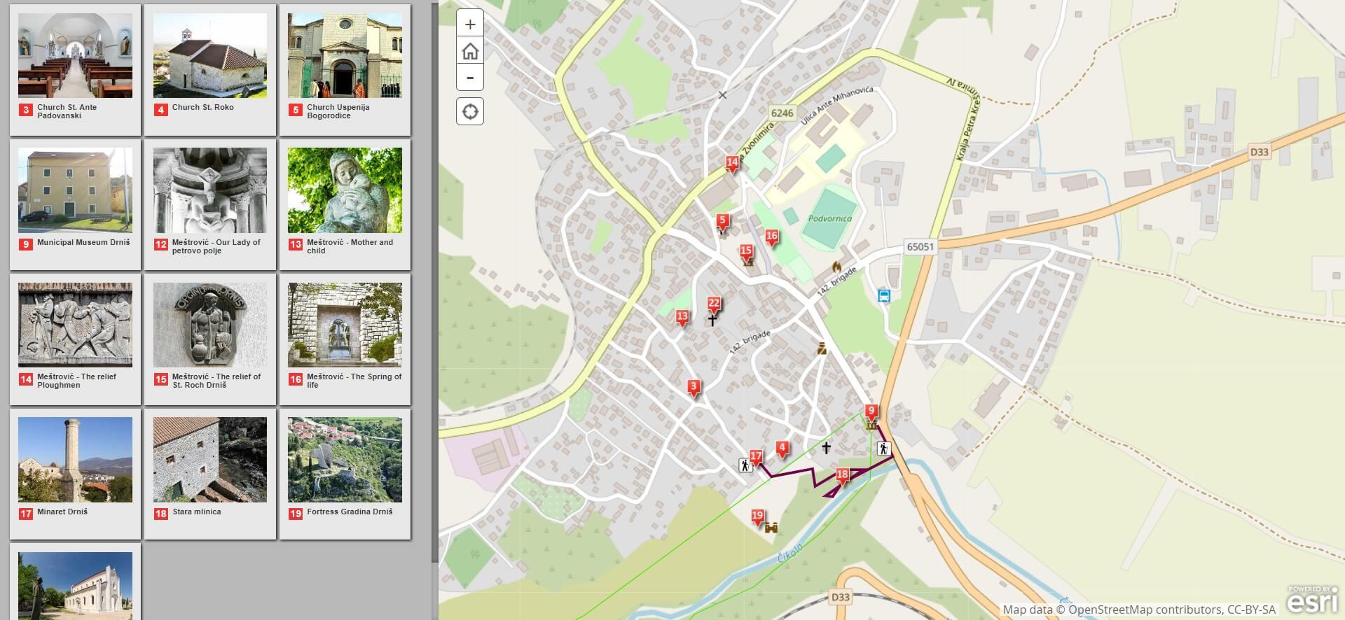 carte Sites culturels et religieux à voir à Drnis et aux environs