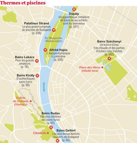 carte des principaux bains de Budapest map baths in Budapest