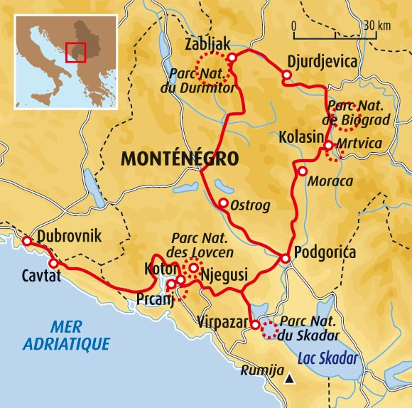 montenegro carte parcs nationaux