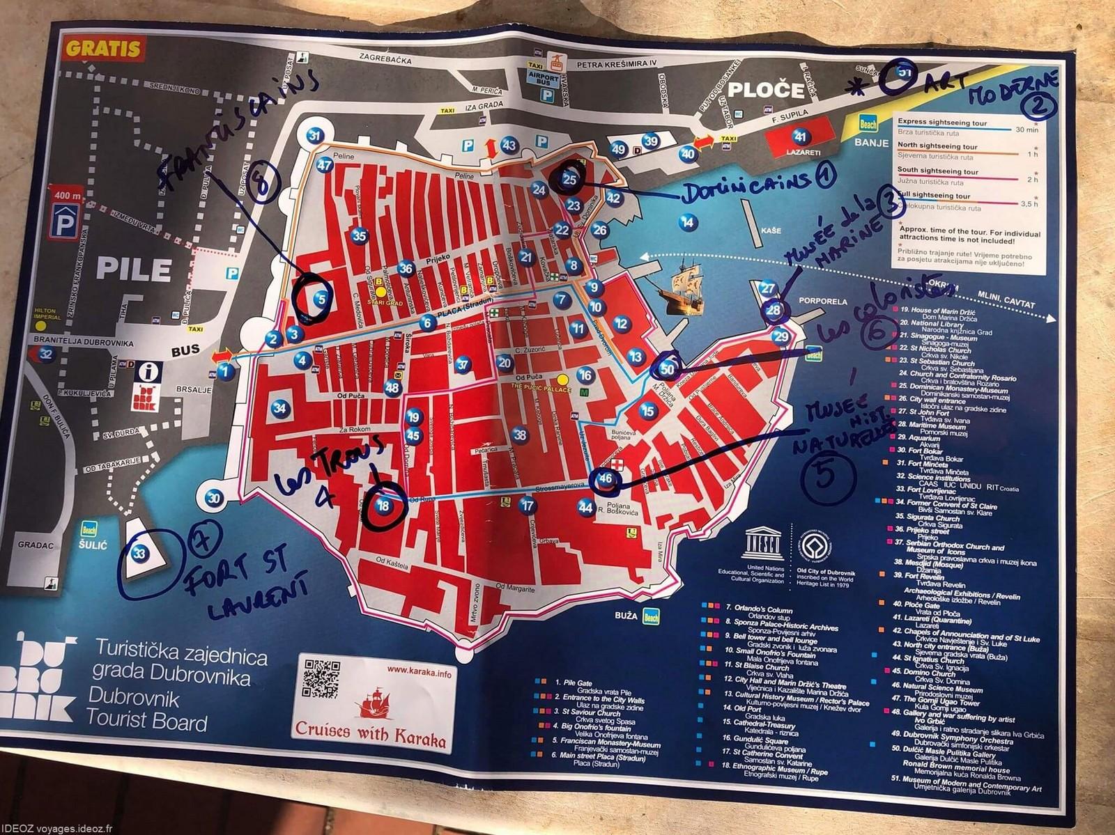 plan de dubrovnik avec les visites conseillées pour éviter les foules de touristes dans la vieille ville de Dubrovnik