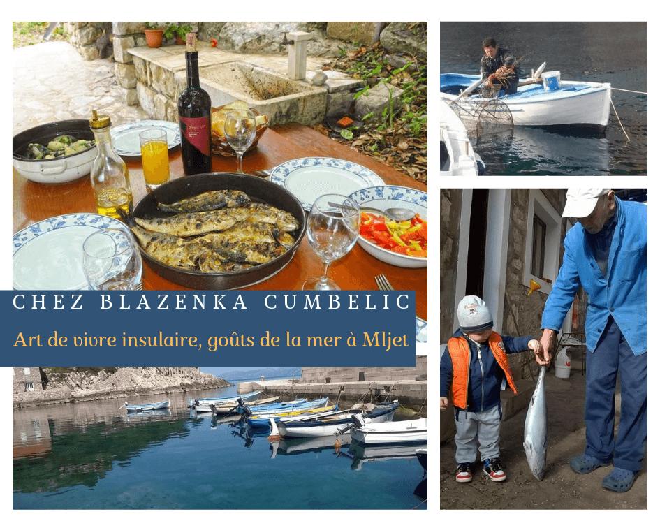 Chez Blazenka Cumbelic à Kozarica sur l'ile de Mljet repas cuisine dalmate