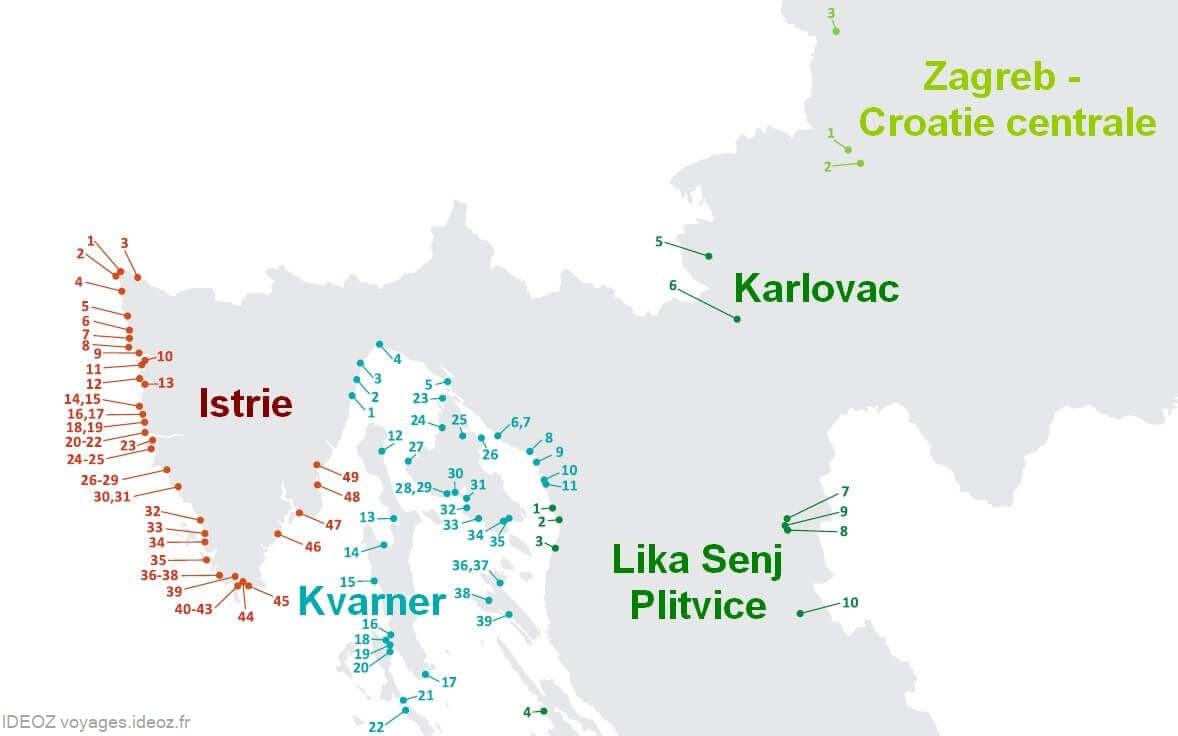 carte des campings dans le nord de la croatie