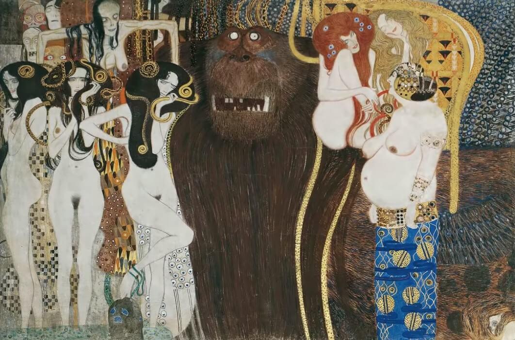 Klimt Beethovenfriese femmes nues et animal