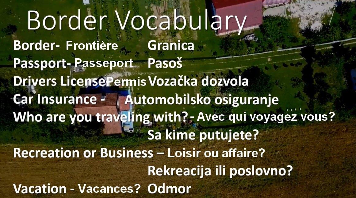 vocabulaire utile aux frontières en Bosnie
