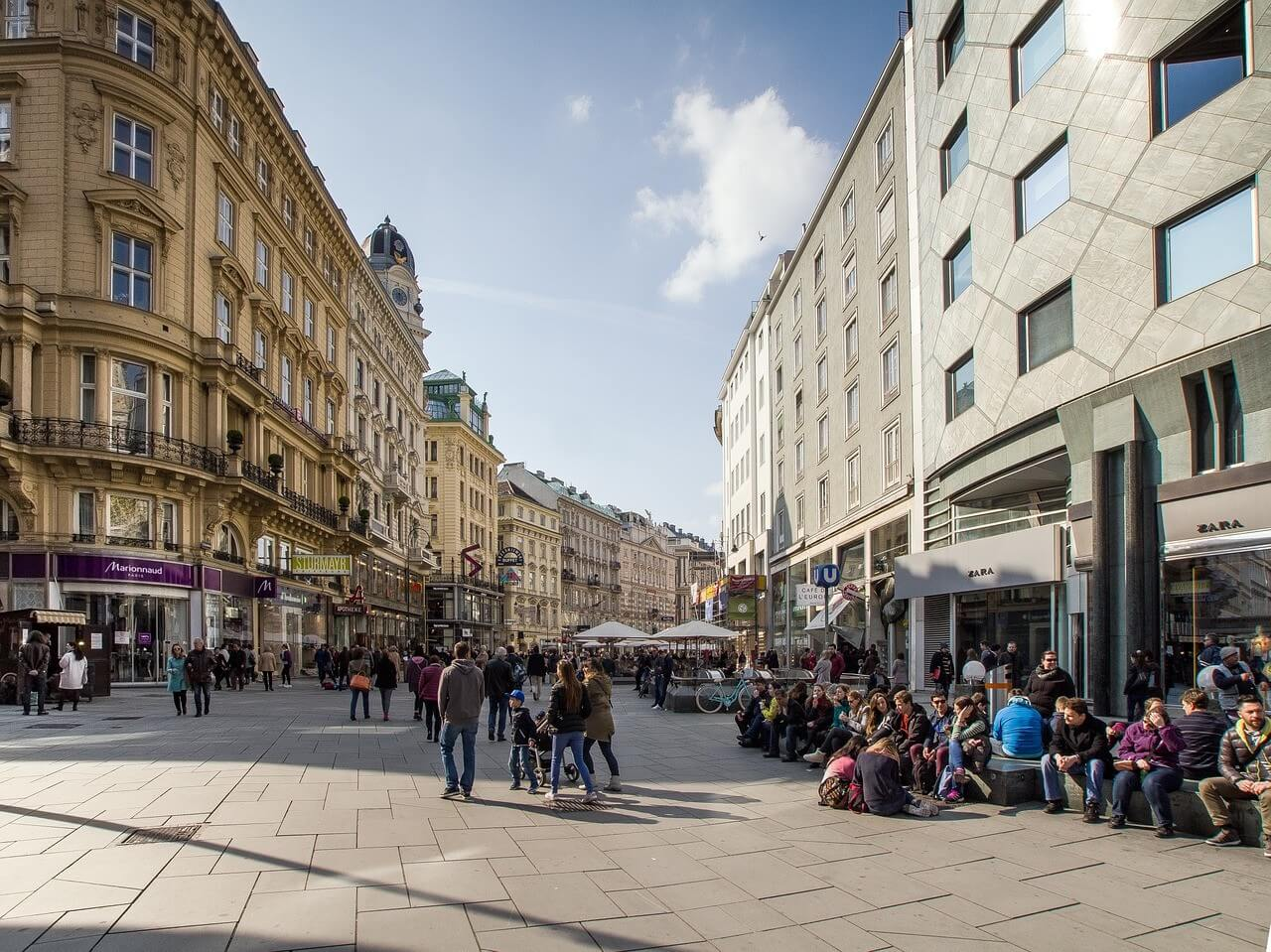 rue commerçante du centre de vienne