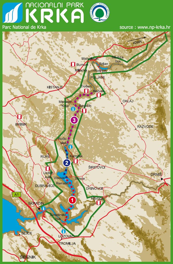 carte du parc national krka