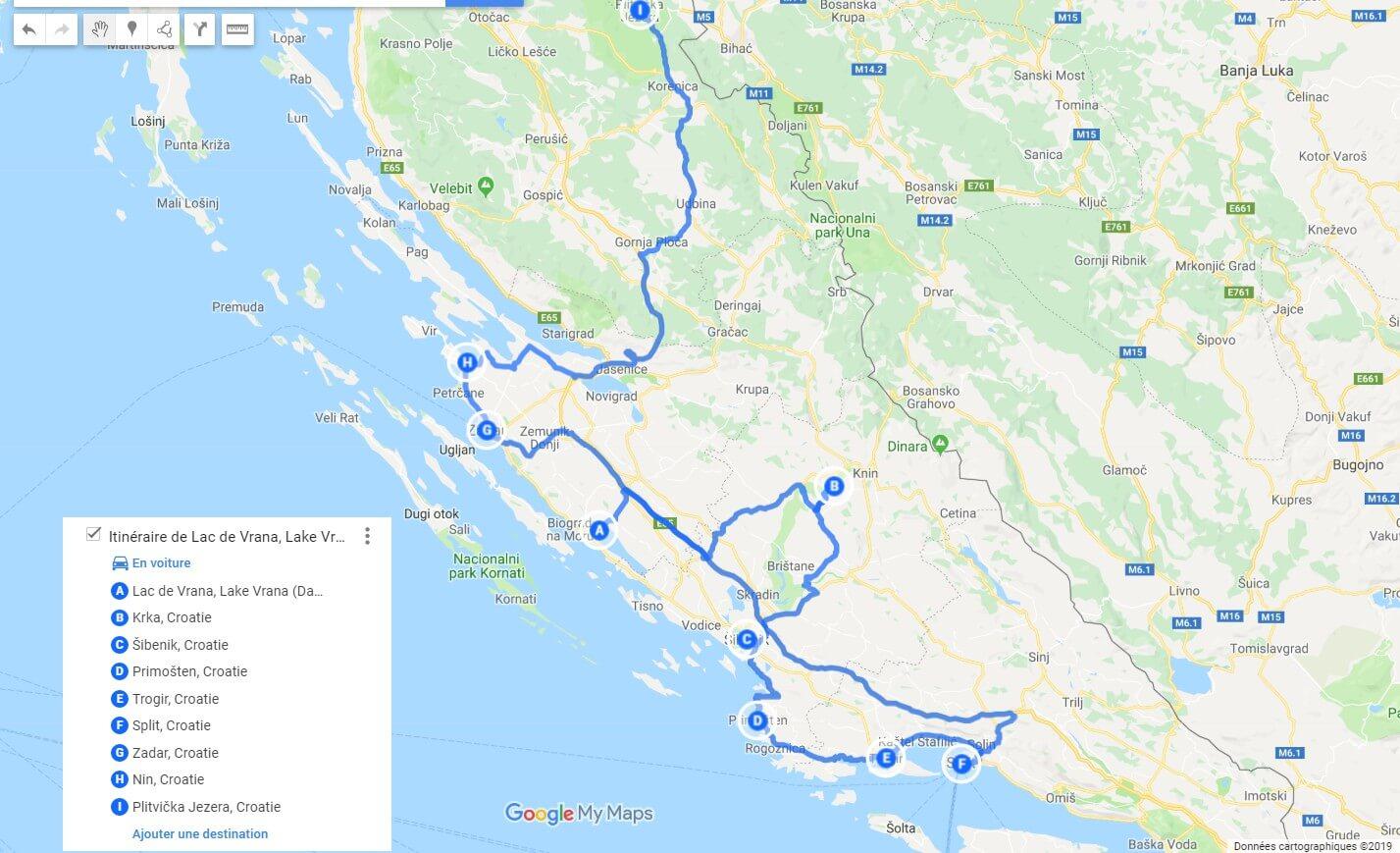 carte itinéraire d'une semaine depuis Vrana en dalmatie du nord (1)
