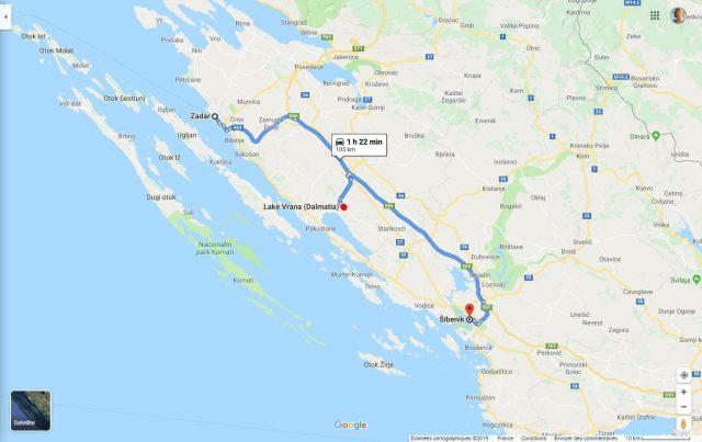 carte situation de Vrana entre Sibenik et Zadar