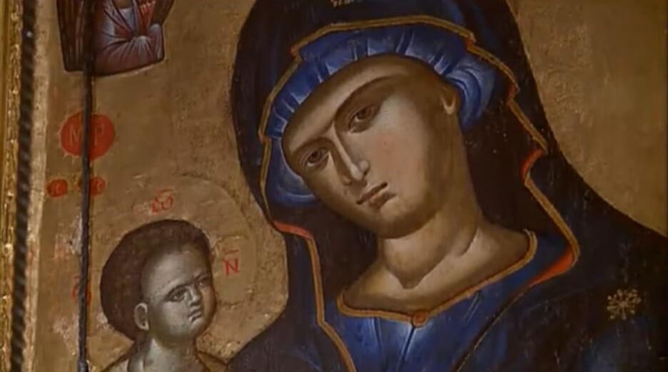 icone de la vierge et l'enfant monastère serbe orthodoxe de krka