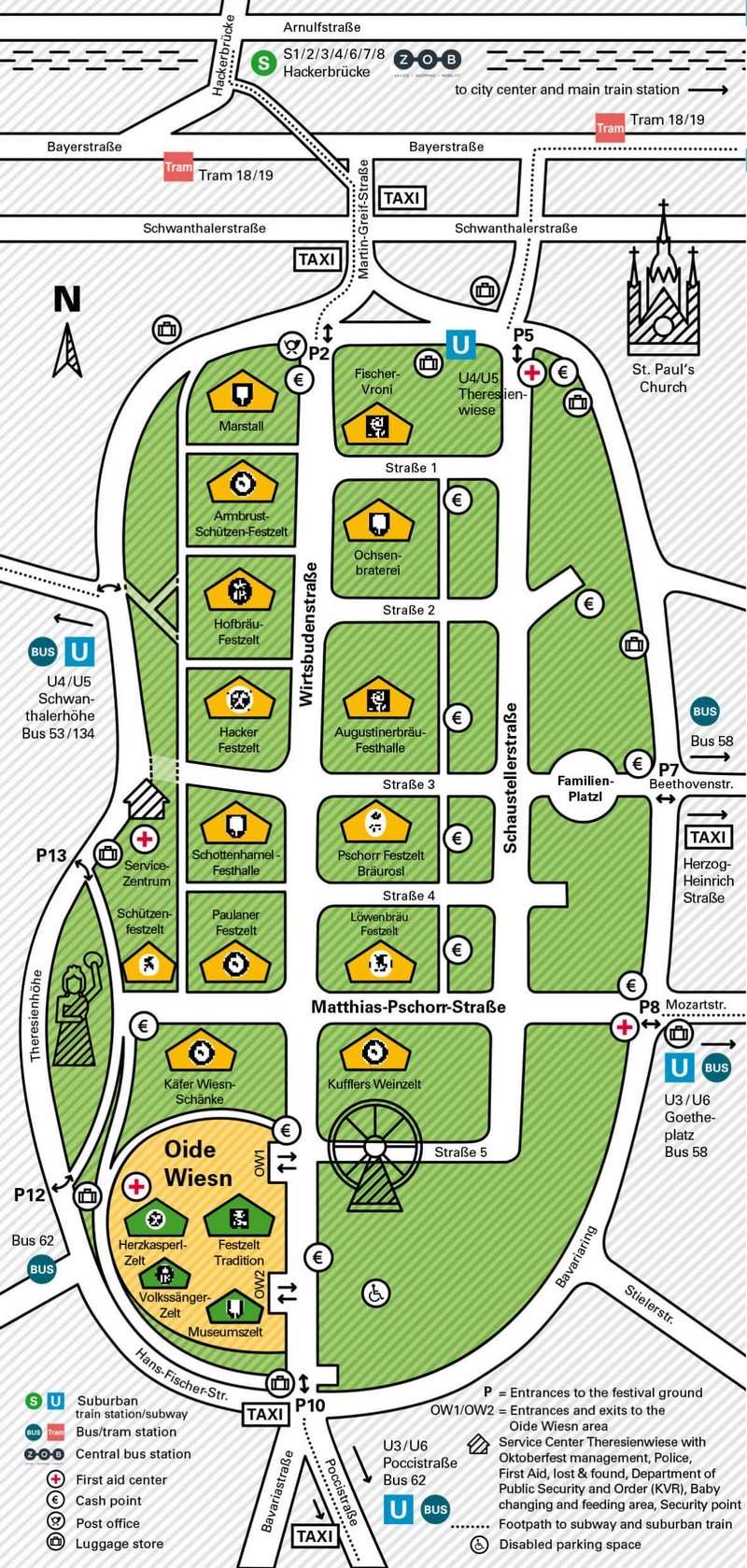 plan des tentes de l'oktoberfest de munich en 2019