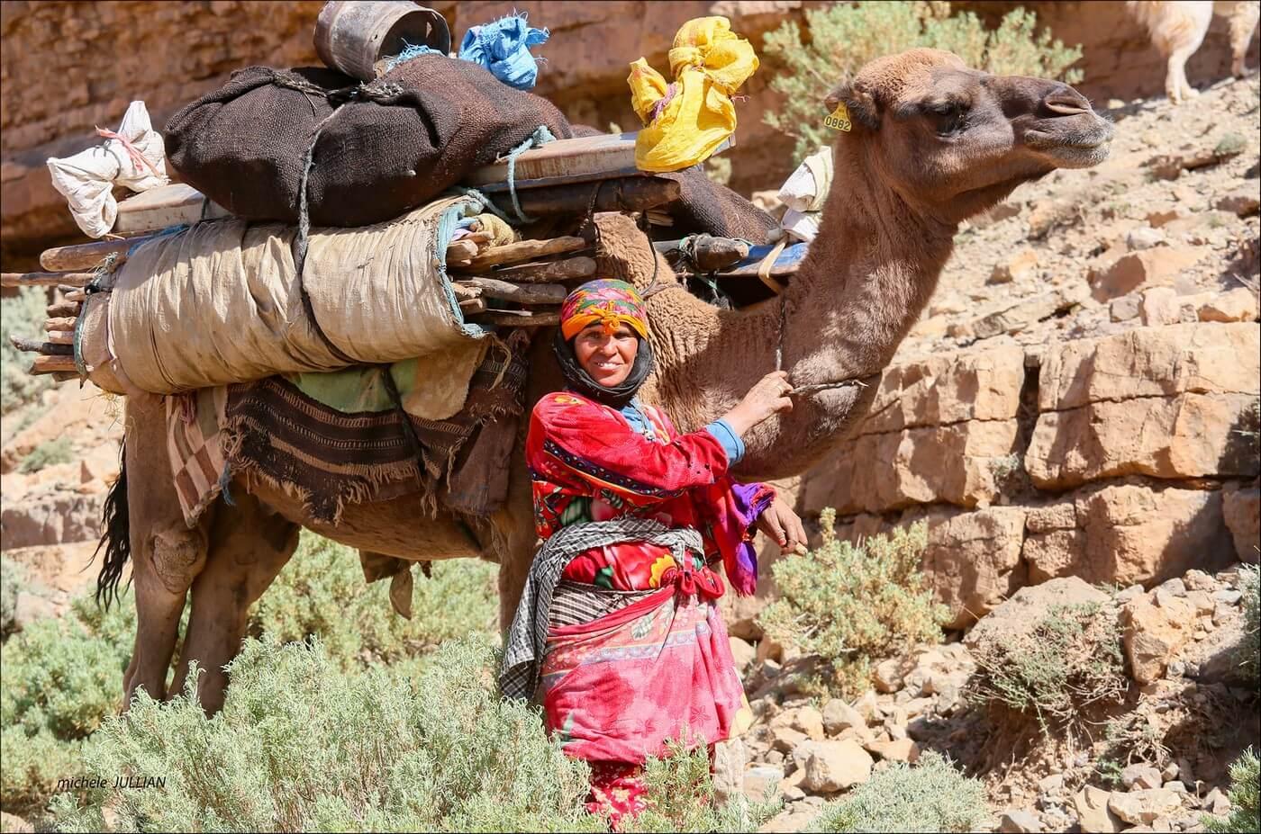 femme nomade près de son chameau sur la route  entre Saghro et le Haut Atlas