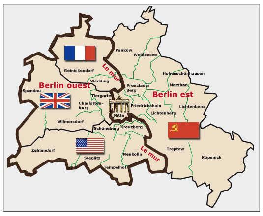 carte des 4 zones d'occupation de Berlin après l'édification du mur de berlin