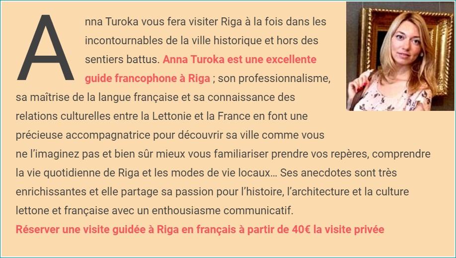 Anna Turoka visite guidée de riga avec une guide en français