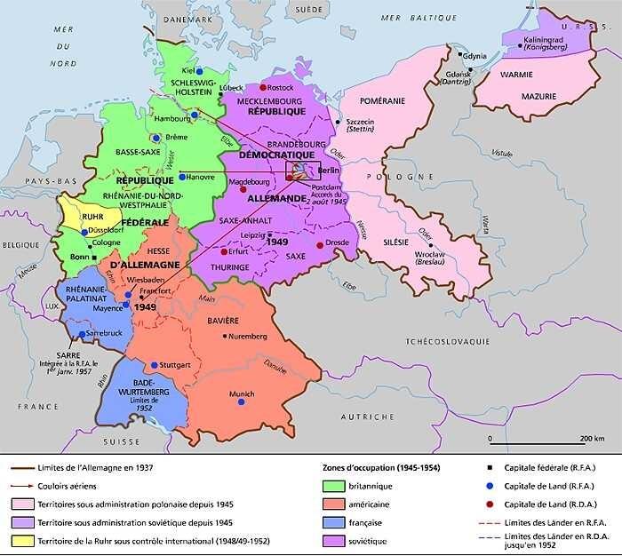 carte de l'allemagne après 1945