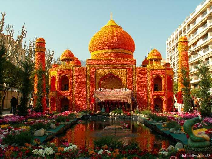 fêtes du citron à menton : représentation du taj mahal