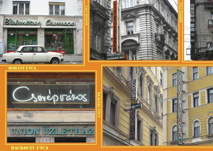 anciennes enseignes publicitaires à Budapest