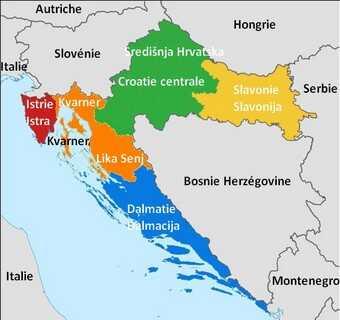 carte des régions de croatie