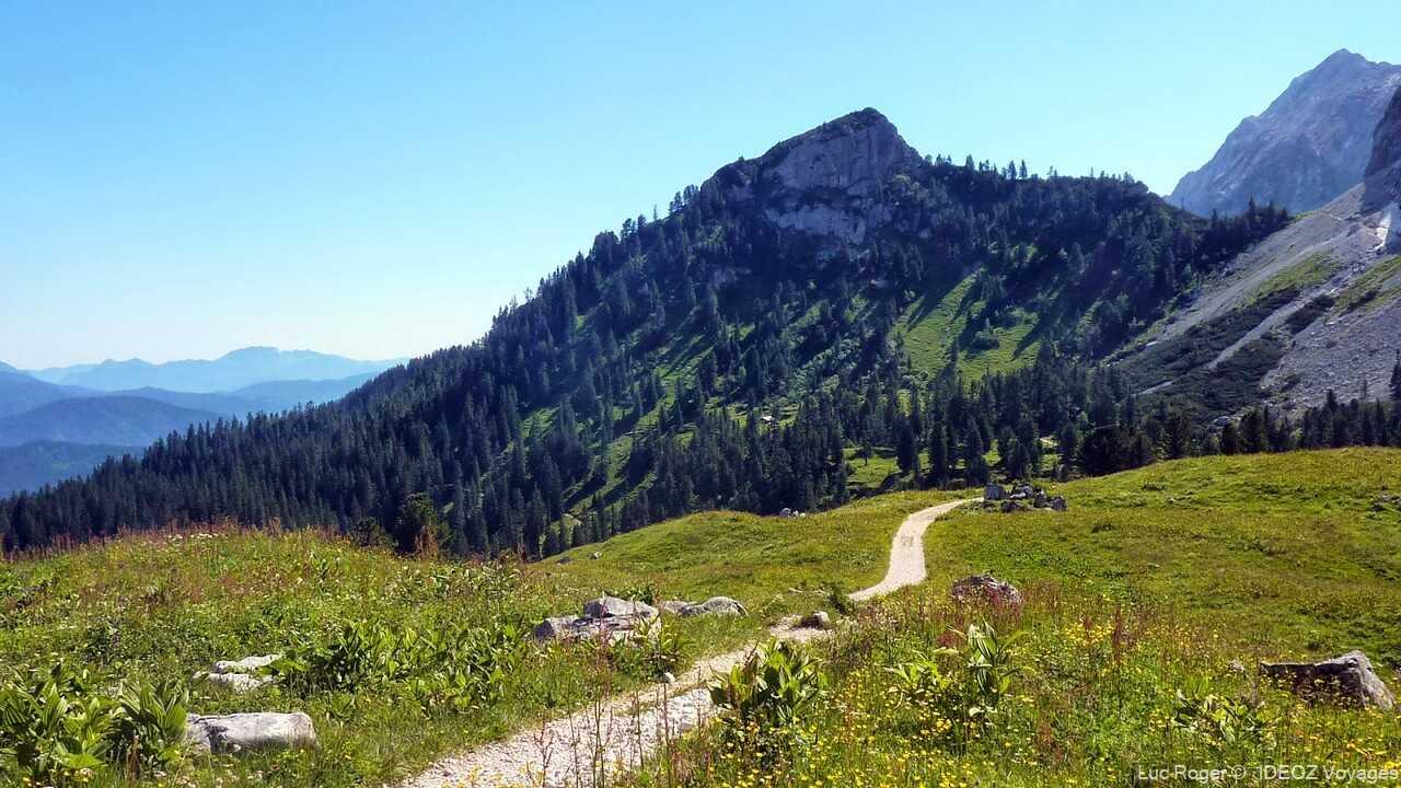 sentier de randonnée dans les alpes bavaroises dans la région de garmisch partenkirchen