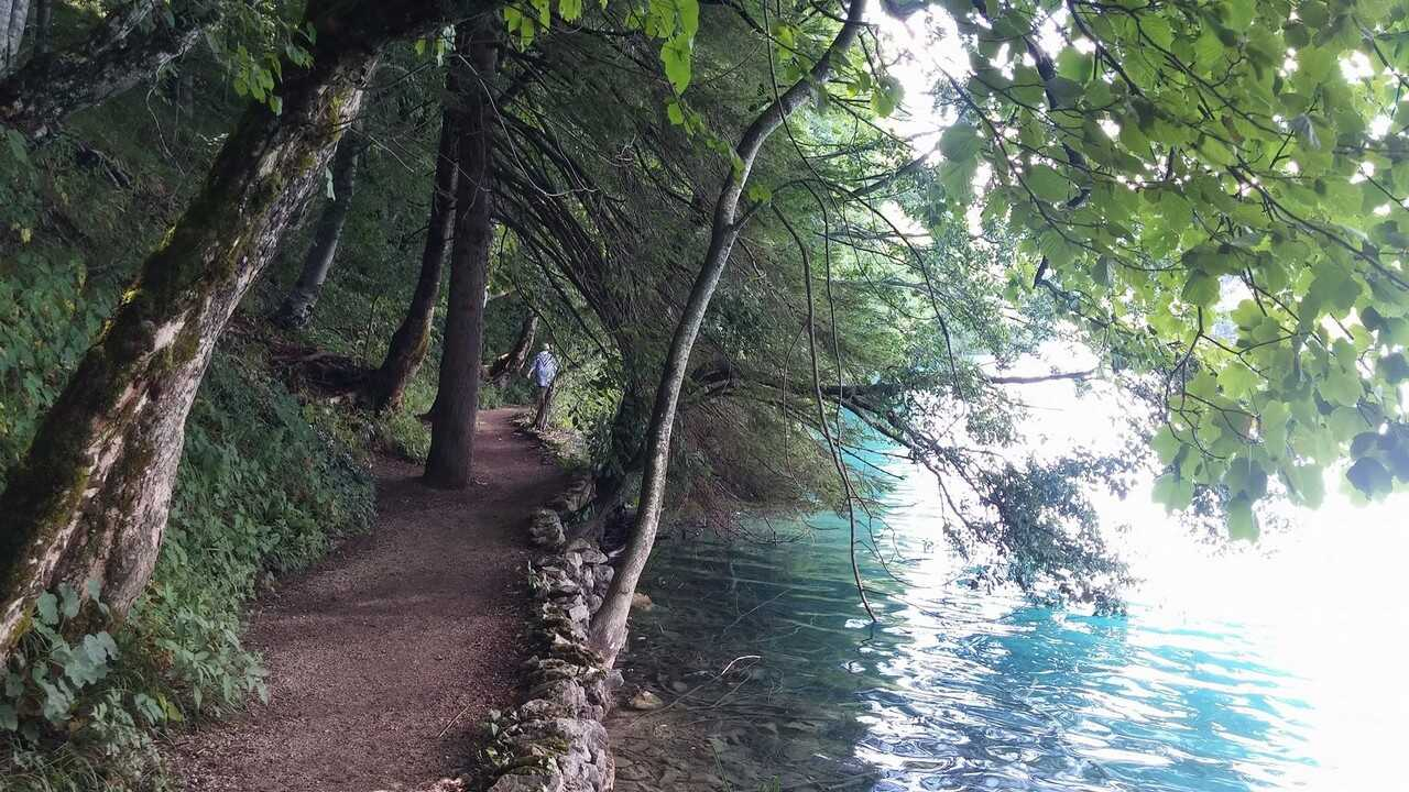 sentier des lacs supérieurs à Plitvice en été